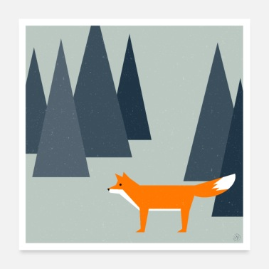 Fox A fox in the forest - poster - Poster