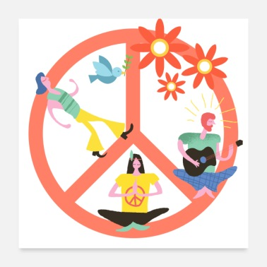 Flower Power Hippie Peace - Poster