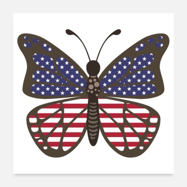 Us Butterfly USA US Flag - Gaveidee - Poster