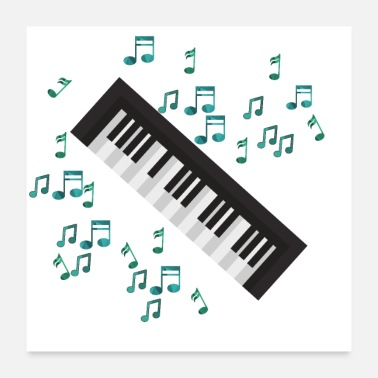 Playing Piano and Sheet Music - Gift idea for piano playing - Poster