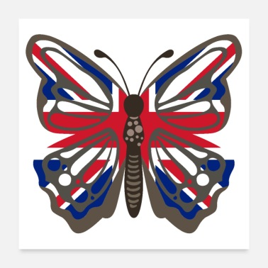 Uk Butterfly United Kingdom UK flag - Poster