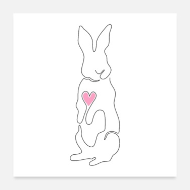 Ostern Hase One Line Design - Poster