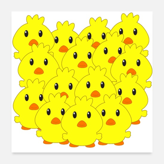 Birthday Posters - Chicks, Easter, animals for children, sweet chicks - Posters white