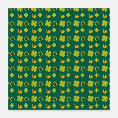 Day St. Patrick's Day groene klaver patroon - Poster
