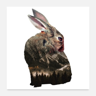 Mother Double exposure animals bunny - gift idea - Poster