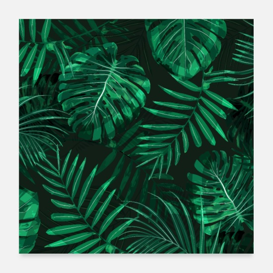 Green Posters - Tropical fern topped rainforest leaves - Posters white
