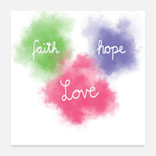 Bible Posters - Faith Love Hope Confirmation du verset de la Bible - Posters blanc