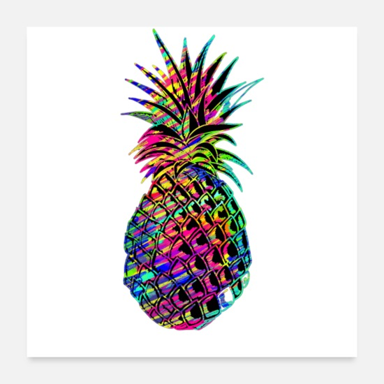 Rainbow Posters - multicolored pineapple - Posters white