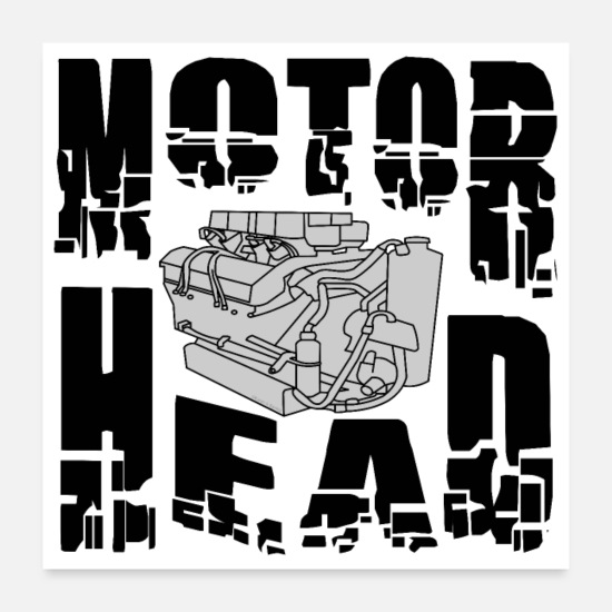 Motor Posters - Motor Head Engine - Posters white