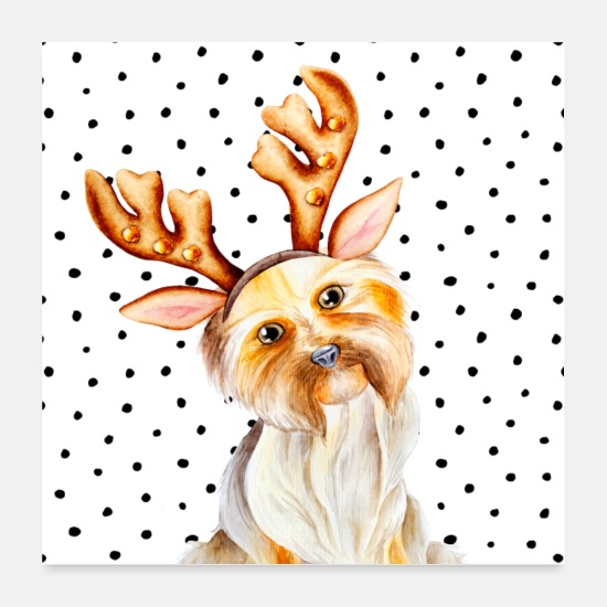 Fur Posters - Animal friends - cute Shih Tzu with antlers - Posters white