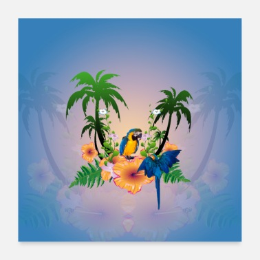 Palm Tropical design with palm trees and parrot. - Poster
