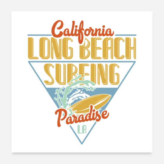 Hollywood Posters - LONG BEACH SURFING - Posters white