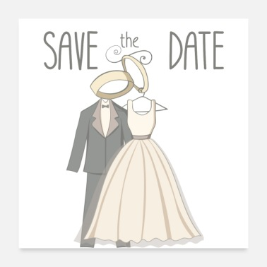 Birth Date save the date - married couple and rings - Poster