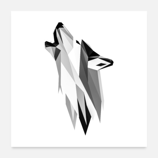 Pensel Posters - Wolf design - Posters hvid
