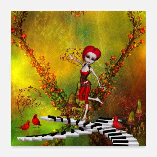 Song Posters - Little fairy dancing on a piano - Posters white