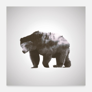 Double Brown Bear - Forest Double Exposure Effect - Poster