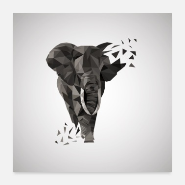 Tusk ELEPHANT AFRICA ANIMAL BUTTON GIFT ANIMAL LOVE POLY - Poster