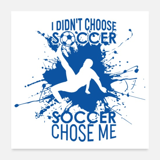 Birthday Posters - Cool soccer player blue background with saying - Posters white