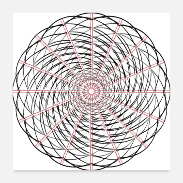Circular Circular shape in red black - Poster