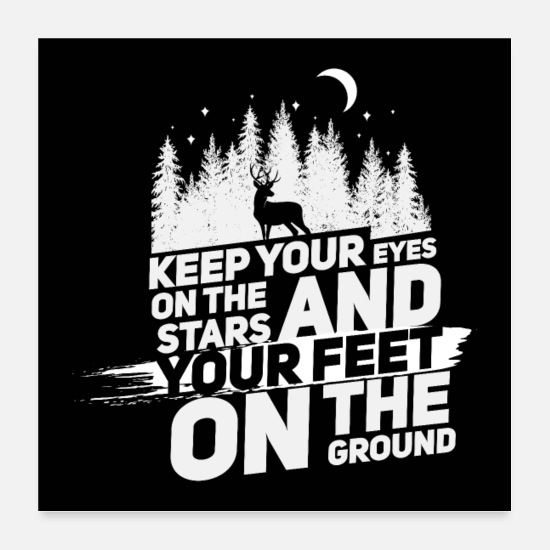 Erfolgreich Poster - Keep your eyes on the stars (white) - Poster Weiß