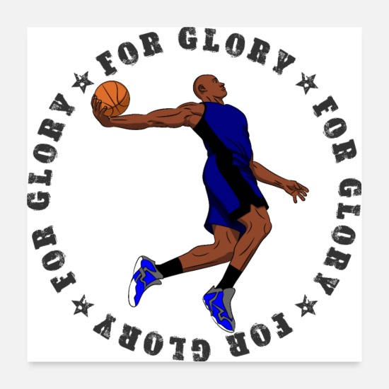Ball Poster - FOR GLORY MAN 005 Basketball Dunk - Poster Weiß