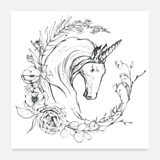 Beliveinmagic Poster - Unicorn and flowers - Poster bianco