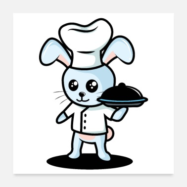 Serve Cute bunny dressed as a cook serves the food - Poster