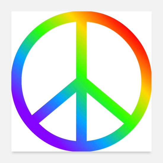 Peace Sign Posters - Peace Sign CND in rainbow colors - Posters white