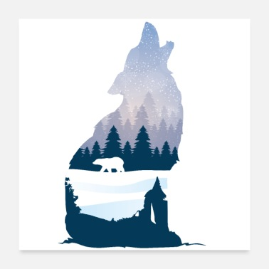 Silhouette Heulender Wolf im Winter Silhouette mit Nadelwald - Poster