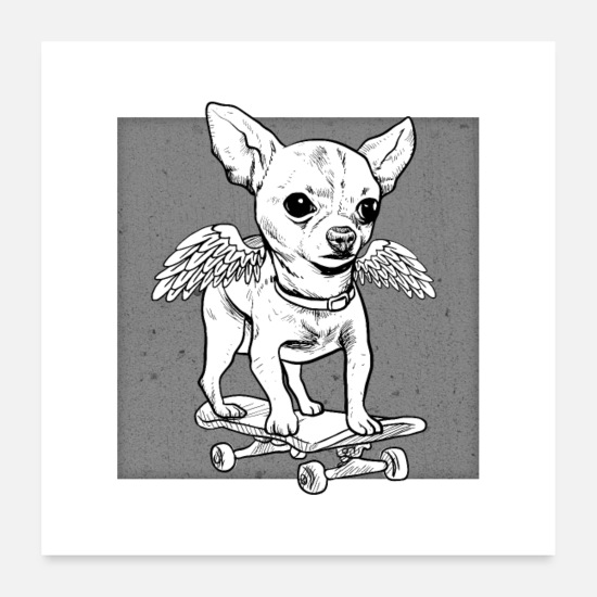Skateboard Posters - Chihuahua - cute dog with skateboard - Posters white