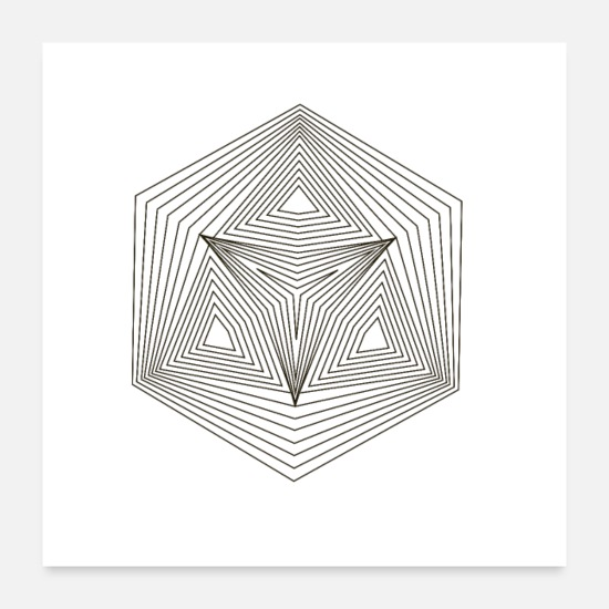 Minimalistisk Posters - Hexagon Hexagon Illusion Paradox Yoga Gift - Posters hvid