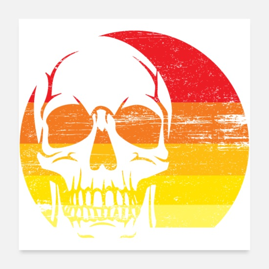 Gift Idea Posters - Vintage skull in front of the sunset - Posters white