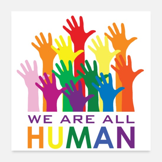 Gleich Poster - We are all HUMAN! - Poster Weiß
