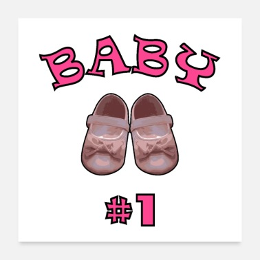 Baby Bump Baby shoes # 1 pink - Poster