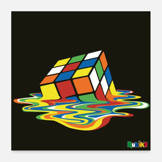 Melting Posters - Rubik's Melting Cube - Posters white