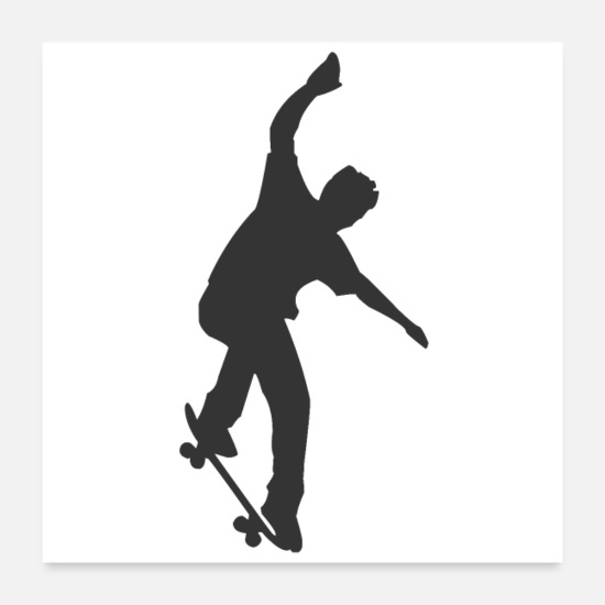 Sk8 Posters - Skater on a skateboard - Posters white
