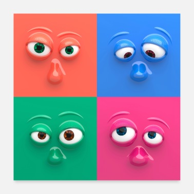 Comic Four colorful, funny faces - Poster