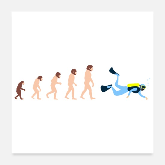 Jul Posters - Dykning Human Evolution Diver Funny Gift - Posters hvid