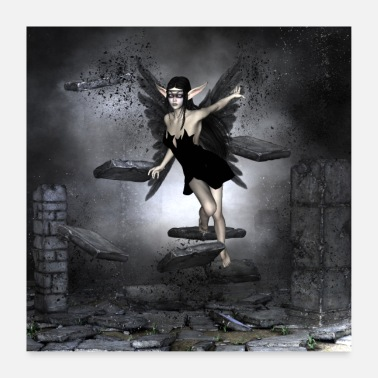 Fly Dark fairy at night - Poster