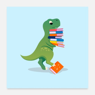 Comic Book Dinosaur With Books - Poster