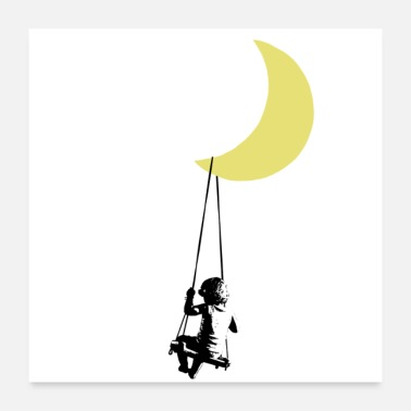 Toddler Banksy toddler on swing under moon - Poster