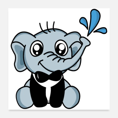 Magician Funny elephant in a suit - Poster