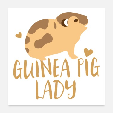 Tanning Tan guinea pig lady with smiling pig - Poster