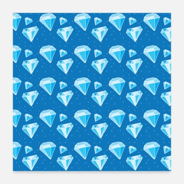 Game Diamonds blue pattern - Poster