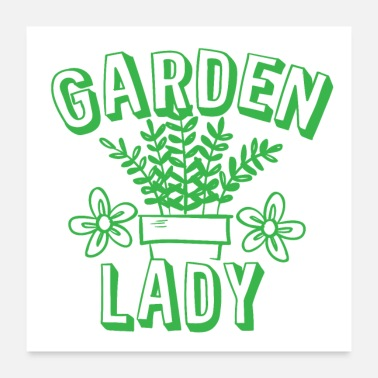 Pot Leaves garden lady with green pot plant - Poster