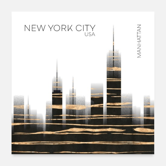 New York Posters - Art urbain NYC Skyline - Posters blanc