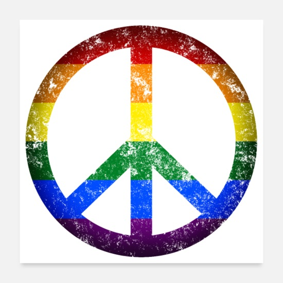 Gay Pride Poster - Peace Gay Sign Symbol - Poster Weiß
