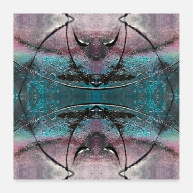 Schwarz Abstract pattern black turquoise purple pattern - Poster