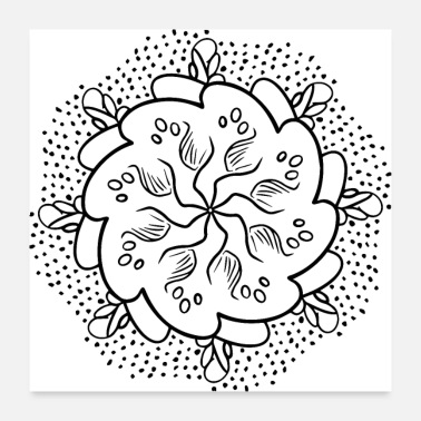 Oval Mandala ornament (black DDP) - Poster