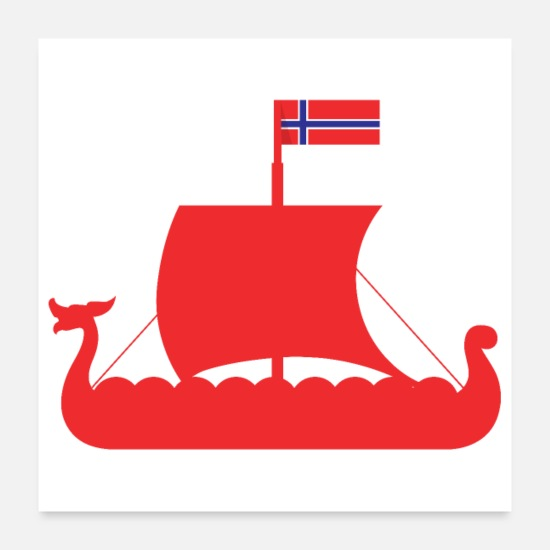 Gift Idea Posters - Viking Viking ship Norway flag gift - Posters white